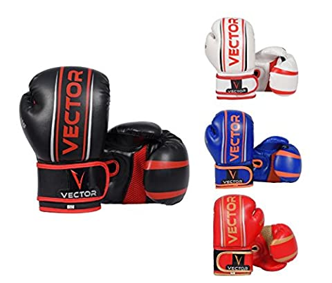 Vector Sports Maya Hide Leather Hand Crafted Pro Style Kids Boxing Kickboxing Children MMA Sparring Gear Junior Heavy Bag Training Gloves (Red/Gold , 6 ()
