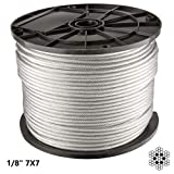 300 Ft | 1/8 inch Stainless Steel Aircraft Wire Rope for Deck Cable Railing Cable | 7x7 300Feet T316 Marine Grade