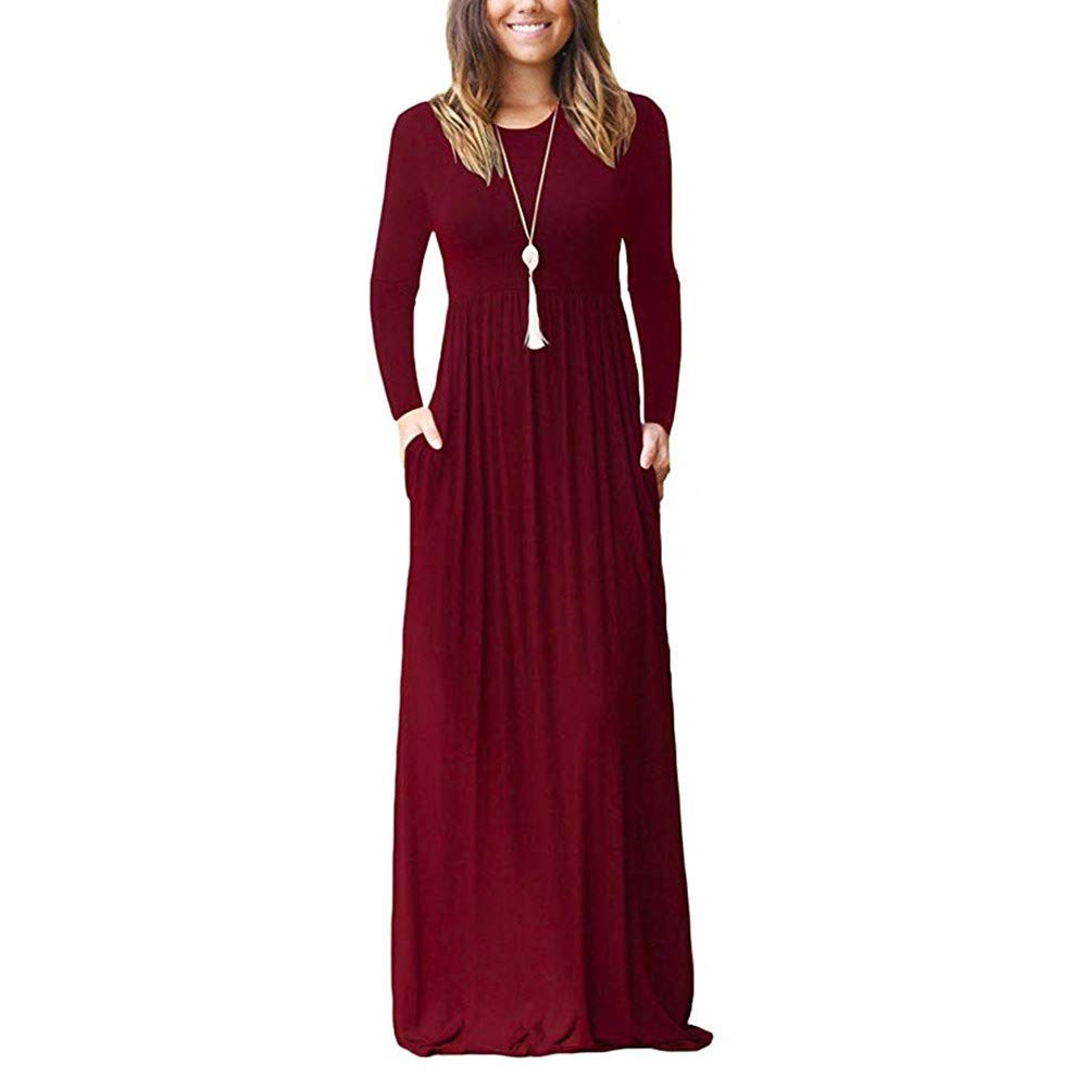 Brush Finch Women's Casual Long Sleeve Maxi Dress with Pockets