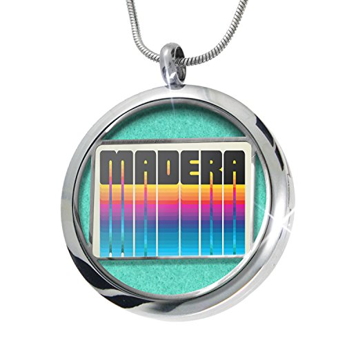 NEONBLOND Retro Cites States Countries Madera Aromatherapy Essential Oil Diffuser Necklace Locket Pendant Jewelry Set