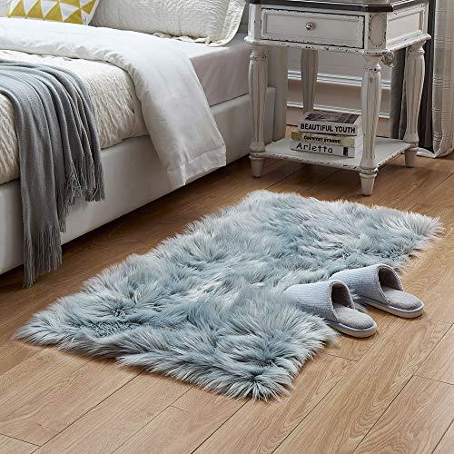 Rectangle Sheepskin Rug Supersoft Fluffy Area Rug Shaggy Silky Throw Rug Floor Mat Carpet Decoration (2 ft x 3 ft, Grey)