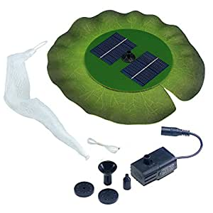 Smart Solar 24402R01 Aquatic Range Floating Lily Solar Fountain Powered By An Included Solar Panel That Operates An Integral Low Voltage Pump With Filter, Includes 3 Different Fountain Heads