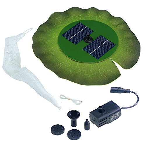 Smart Solar 24402R01 Aquatic Range Floating Lily Solar Fountain Powered By An Included Solar Panel That Operates An Integral Low Voltage Pump With Filter, Includes 3 Different Fountain Heads (Fountain Lily Solar)