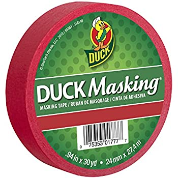 Duck Masking 240818 Red Color Masking Tape.94-Inch by 30 Yards
