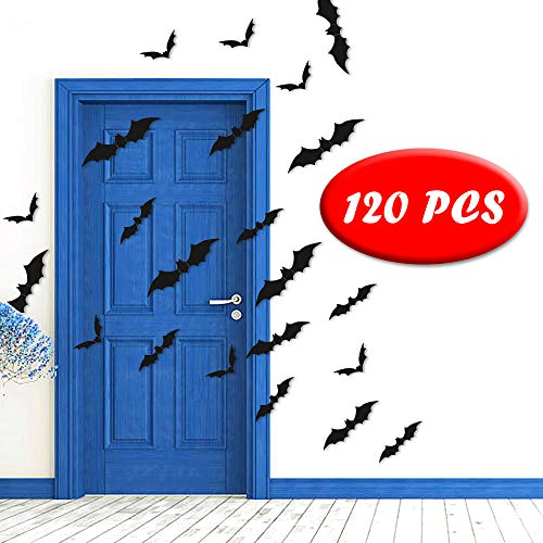 Halloween Wall Bat Stickers Decor- 3D Bat Decals Party Supplies for Home Window Clings Decorations- 120PCS/4 Size (Indoor& Outdoor) (bat Stickers-2)