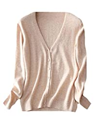 CFD Womens Classic V-Neck Button Down Cashmere Cardigan Sweater
