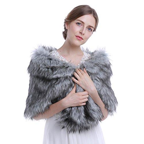 Gray Fur (HailieBridal Women's Gray Sleeveless Faux Fur Bride Bridesmaid Wedding Shawl)