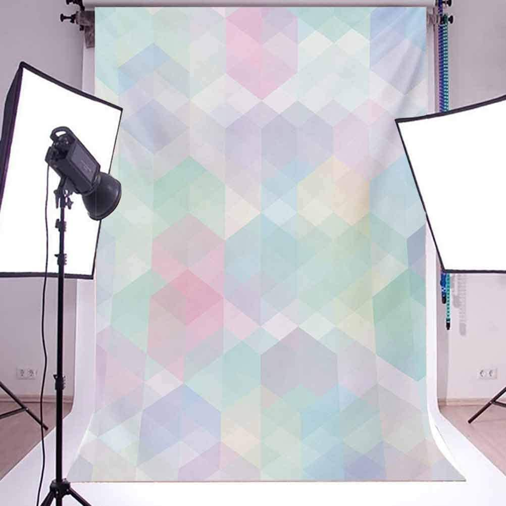 Pastel 10x15 FT Backdrop Photographers,Retro Style Artistic Pattern with Hexagonal Shapes Random Overlaps Cheerful Soft Background for Photography Kids Adult Photo Booth Video Shoot Vinyl Studio Props