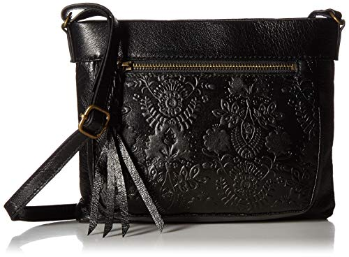 The Sak Unisex The Sanibel Mini Crossbody, Black Floral - Handbag Embossed