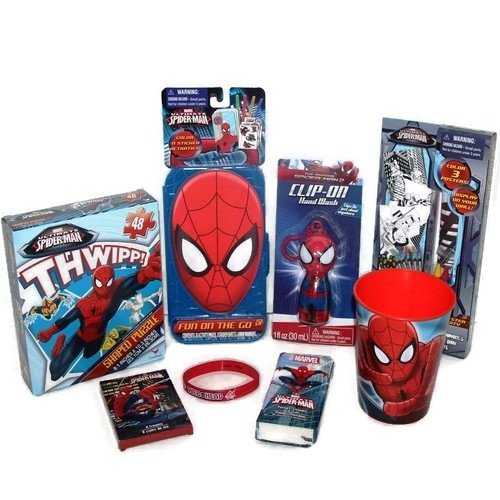 Spider-man Gift Set Coloring Activity Stickers Puzzle Crayons Poster Silicone Bracelet Hand Wash Tissue Bundle (Tissue Crayons)