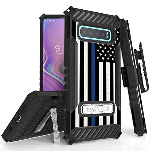 Trishield Series for S10+ Case, Military Grade Rugged Cover + [Metal Kickstand]+[Belt Clip Holster] for Samsung Galaxy S10 Plus (2019)- Thin Blue Line Flag from Beyond Cell