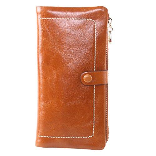 Brown Leather Womens Bank (AINIMOER Luxury Large Women's Genuine Leather Long Zipper Wallet Ladies Clutch)