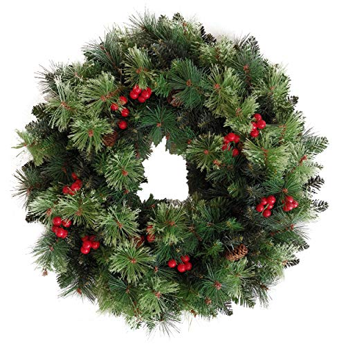 Senjie Artificial Christmas Wreath with Pine Cones and Red Berries,24 Inch Xms Decorations Unlit (Wreaths Christmas)