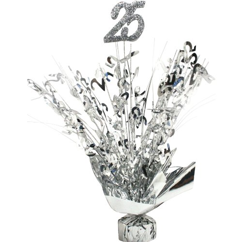 Silver Weighted 25th Anniversary / Birthday Centerpiece (Qty -
