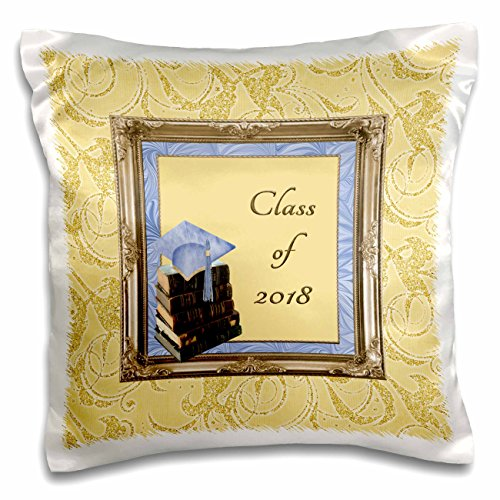 Blue Damask Photo Card - 3dRose Beverly Turner Graduation Design - Blue Cap on Books, Frame, Class of 2018, Gold Swirl Design - 16x16 inch Pillow Case (pc_272646_1)