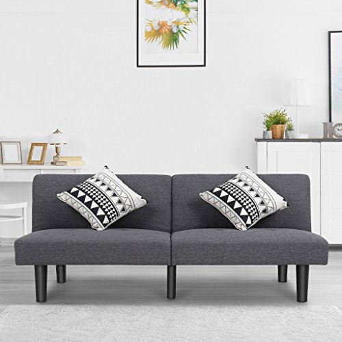 LANGRIA Modern Sofa Bed Upholstered with Soft Breathable Linen 6 Reclining Positions Quick and E ...