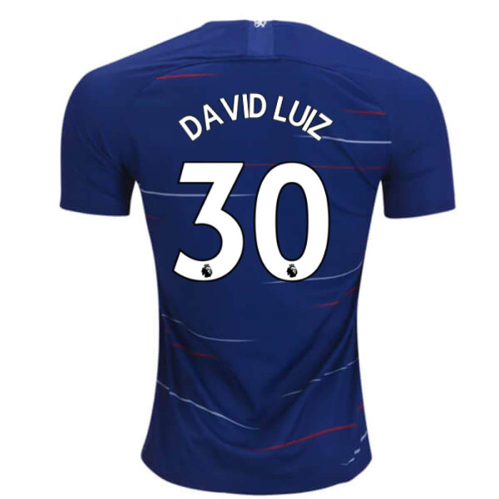 2018-2019 Chelsea Nike Vapor Home Match Football Soccer T-Shirt Trikot (David Luiz 30) - Kids