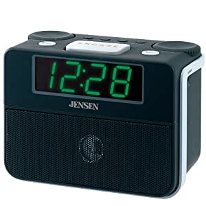 jensen am fm dual alarm clock auto time set clock radio jcr 255 black. Black Bedroom Furniture Sets. Home Design Ideas