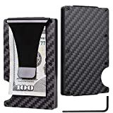 Premium Slim RFID Wallet By Tactical Ninja: Minimalist Carbon Fiber Credit Card Holder With Money Clip/ Stylish Aluminum Front Pocket Card Case/ With Protective Scan Proof Anti-Theft Technology