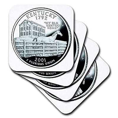 3dRose Sandy Mertens Kentucky - State Quarter of Kentucky (PD-US) - Coasters