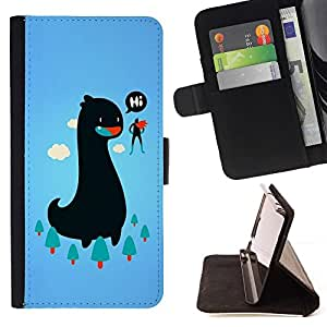 BETTY - FOR Samsung Galaxy S4 Mini i9190 - cool funny monster superhero dinosaur sky woods friend - Style PU Leather Case Wallet Flip Stand Flap Closure Cover