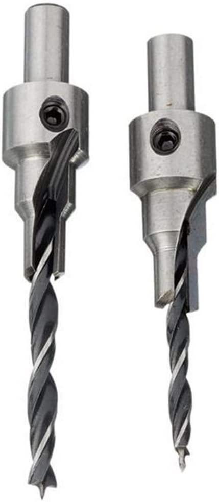 Doolland 2pcs 4mm-5mm HSS 5 Flute Countersink Drill Bits Set Reamer Woodworking Chamfer