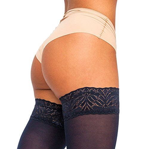 THIGH HIGH Opaque Black Brown Grey Blue Lace Top Stockings Sheer Nylon Pantyhose (Stockings Thigh High)