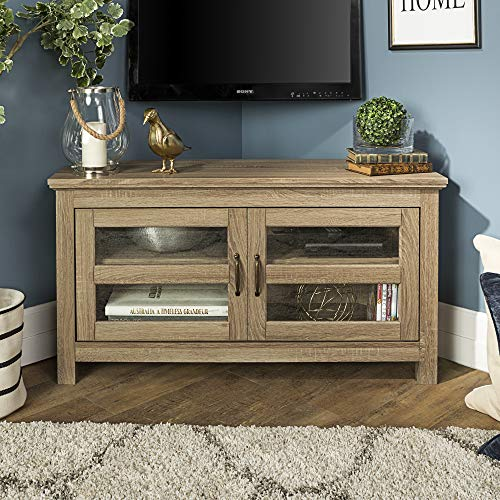 WE Furniture AZ44CCRAG-P 2 Door Cabinet Corner Wood Stand for TV's up to 48