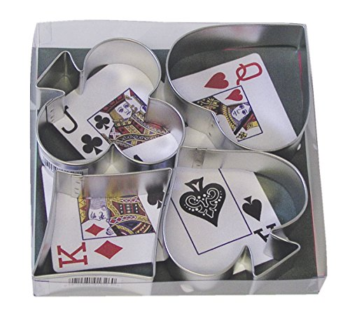 Poker Playing Cards Set - R&M International 1865 Casino Playing Card Suits Cookie Cutters, Spade, Heart, Club, Diamond, 4-Piece Set