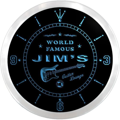 ncpf0153-b JIM'S Famous Guitar Lounge Beer Pub LED Neon Sign Wall Clock