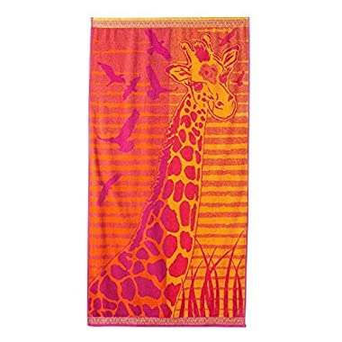 Celebrate Summer Together 1-Piece Giraffe and Birds Beach Towel 34  x 64  100% Turkish Cotton