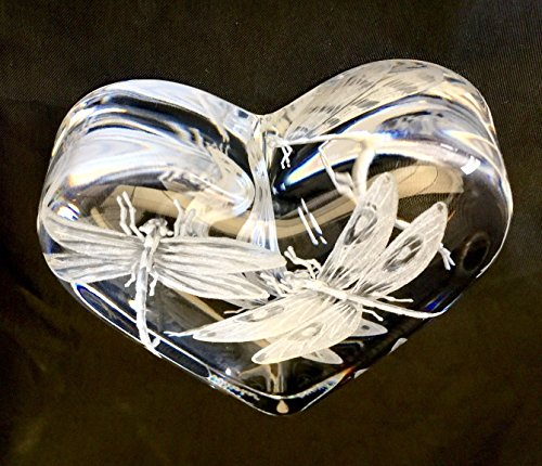 Baccarat Paperweight, Baccarat Crystal, Dragonflies, Heart Paper Weight, Collector Gifts, Customized Crystal, Custom Paperweight, Vintage Paperweight, crystal dragonfly, Crystal Art - Heart Baccarat