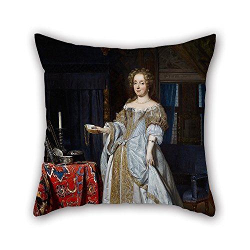 Paisley Brown Needlepoint (Pillow Covers Of Oil Painting Gabriel Metsu - Portrait Of A Lady 20 X 20 Inches / 50 By 50 Cm Best Fit For Teens Girls Chair Bar Gril Friend Adults Sofa Both Sides)
