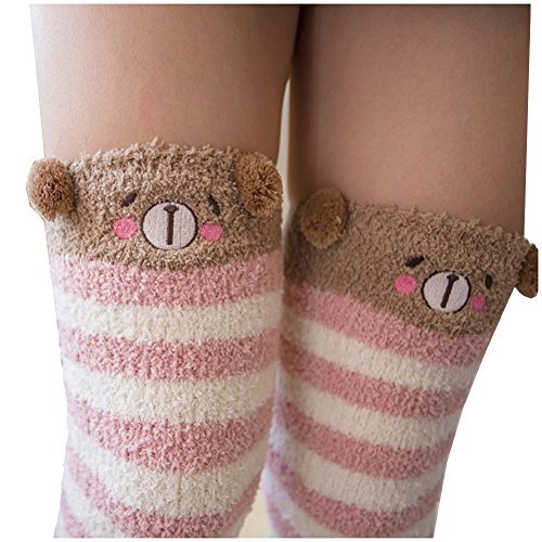 Brown Striped Fleece (Girl's Leg Warmers Soft Warm Animal Coral Fleece Thigh High Long Striped Socks, Best Christmas Gift (Bear))