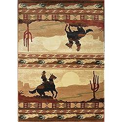 Wildlife Collection Western Rustic Lodge Ride 'Em Cowboy Area Rug - 5'3 W X 7'7 L