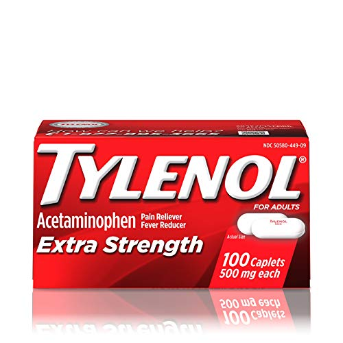 - Tylenol Extra Strength Caplets, Fever Reducer and Pain Reliever, 500 Mg, 100 Ct.