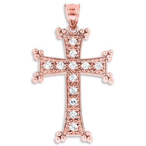 10 ct 471/1000 Or Rose Armenian Croix Oxyde de Zirconium Pendentif Collier (Livre Avec un 45 cm Chaine)