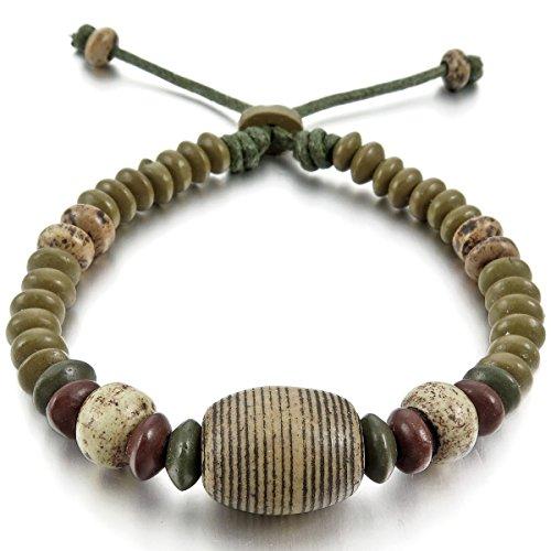MunkiMix Céramique Bracelet Bracelet Menotte Corde Corde Surfer Enveloppez Enrouler Réglable Convient 7~9 Pouce Tribal Homme,Femme