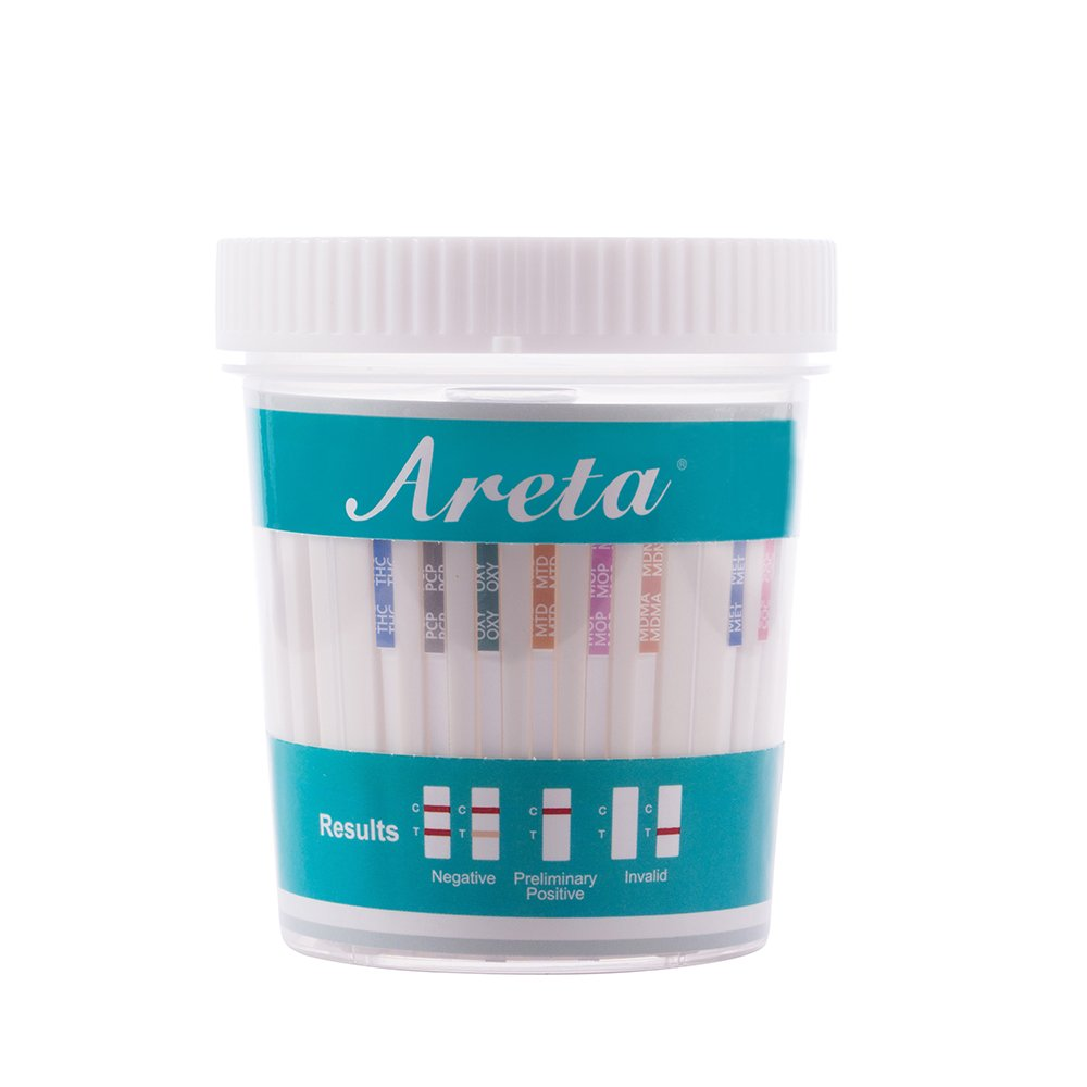 100 Pack Areta 12 Panel Instant Drug Test Cup -Testing Instantly for 12 Different Drugs:BUP,THC,COC,MOP,MET,OXY,AMP,BAR,BZO,MTD,MDMA,PCP- #ACDOA-6125B by Areta