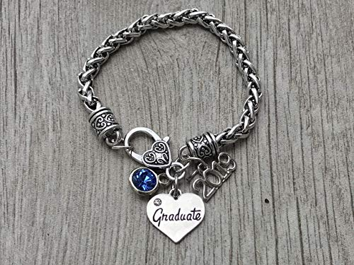 Personalized Graduation Bangle Bracelet With Birthstone Charm-Graduation Gift, Perfect Gift for Graduates, 2019 Edition