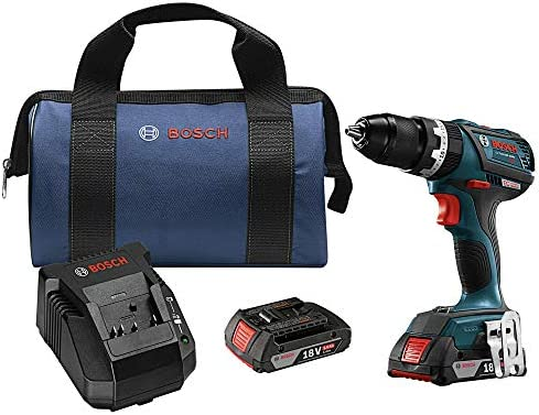 Bosch HDS183-02-RT 18V 2.0 Ah Cordless Lithium-Ion Brushless Compact Tough 1 2 in. Hammer Drill Kit Renewed
