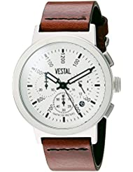 Vestal Retrofocus Chrono Quartz Stainless Steel and Leather Dress Watch, Color:Brown (Model: SLRCL001)