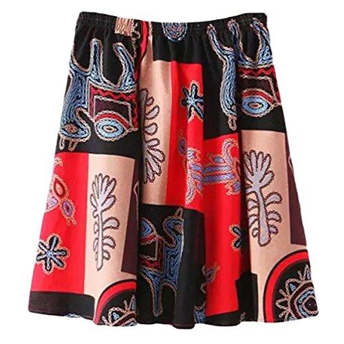 YuanDian Femme Ete Casual Boheme Retro Littrature Et Art Style Imprimee Fleur Lin Mini Jupe A-Line Loose Taille Elastique Fluide Jupe Courte Retro Rouge