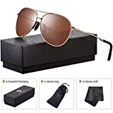Polarized Aviator Sunglasses for Men - Feirdio Metal Frame Sports UV 400 Protection Mens Unisex Sunglasses 2261 (Brown, 2.36)