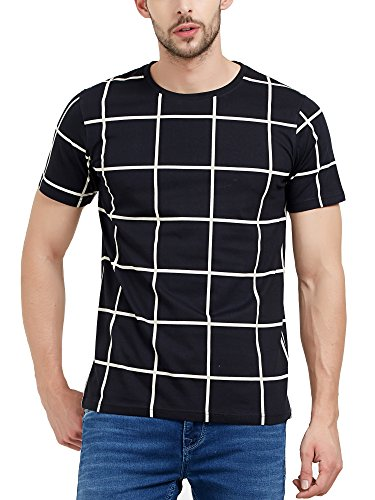 Maniac Men's Halfsleeve Round Neck Checked Cotton Tshirts