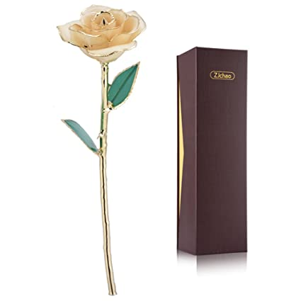 Amazon Com Zjchao Love Forever Long Stem 24k Gold Dipped Rose