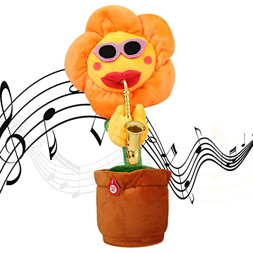 SKSTECH Musical Singing and Dancing Sunflower Soft Plush Funny Creative Saxophone Kids Toy (Yellow) -