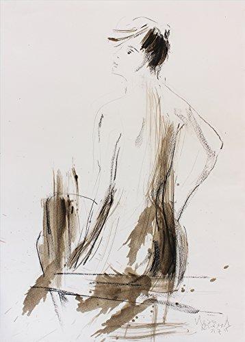 Original drawing Nude Female Modern wall art Artistic sketch