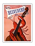 Davos, Switzerland - Grand Hotel & Casino Belvédère - Lobster Musician playing a Cello - Vintage World Travel Poster by Charles Kuhn c.1930s - Master Art Print - 9in x 12in