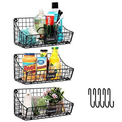 X-cosrack Wall Mounted Bin Basket with 5 Hooks 3 Label Plate-3 Pack, Cabinet Wall Hanging Metal Wire Basket,Rustic…